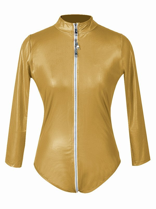 Glossy Patent Leather Zip-up Bodysuit - Golden XL