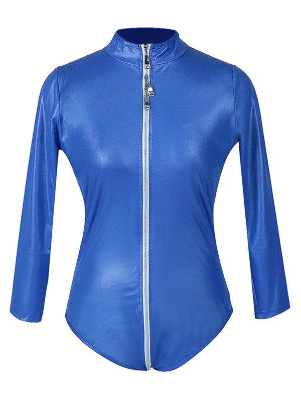 Glossy Patent Leather Zip-up Bodysuit - Blue 2XL