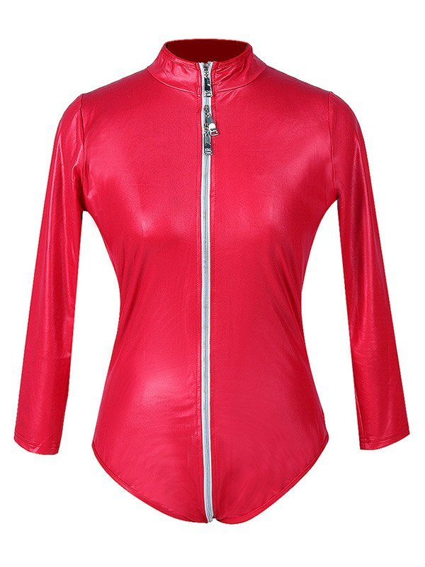 Glossy Patent Leather Zip-up Bodysuit - Red L