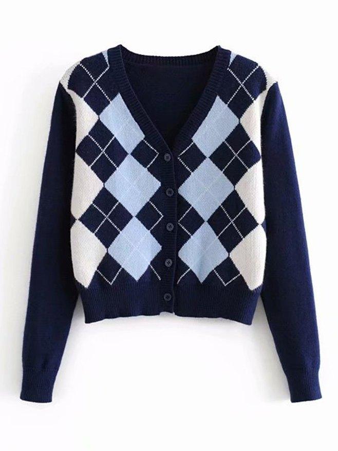 Plaid Knitted Cardigan - Blue M