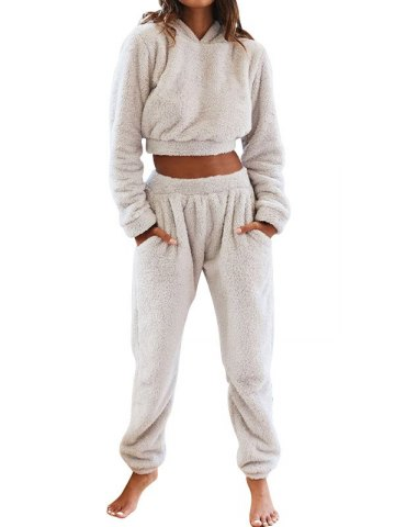 Solid Plush Hooded & Pocket Pants Set