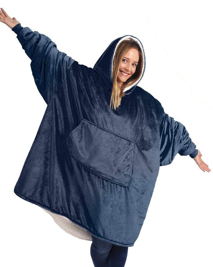 Oversized Wearable Blanket Plush Hoodie - Navy Blue ONE SIZE