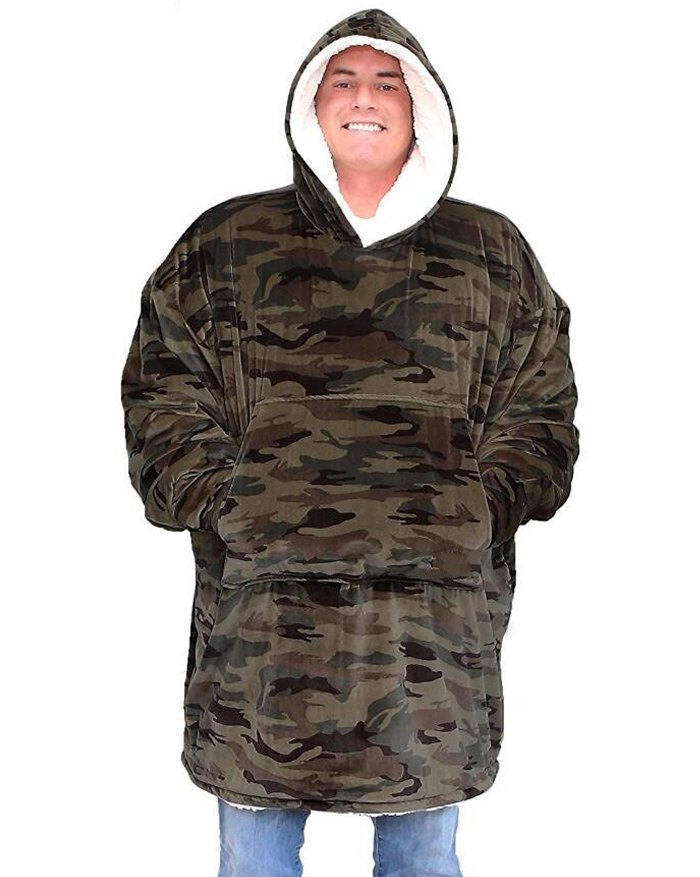 Oversized Wearable Blanket Plush Hoodie - Chive ONE SIZE