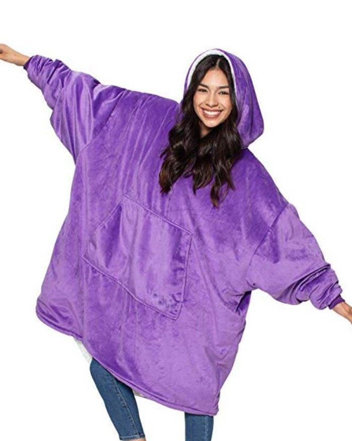 Oversized Wearable Blanket Plush Hoodie - Purple ONE SIZE
