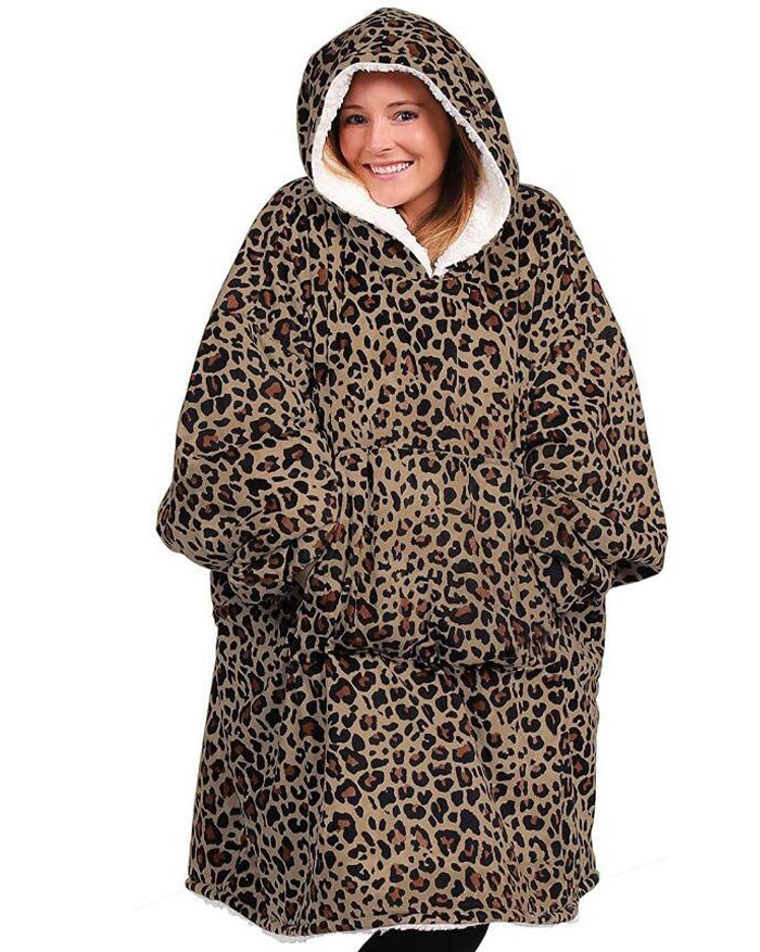 Oversized Wearable Blanket Plush Hoodie - Leopard Print ONE SIZE