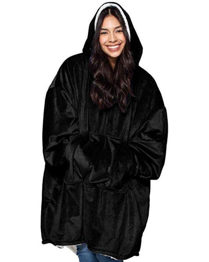 Oversized Wearable Blanket Plush Hoodie - Black ONE SIZE
