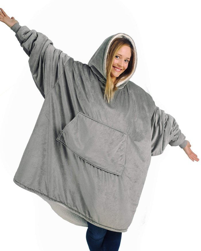 Oversized Wearable Blanket Plush Hoodie - Gray ONE SIZE