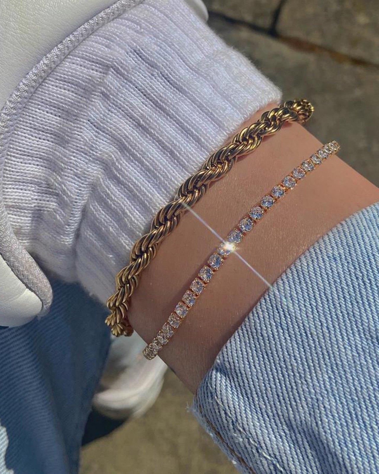 Rhinestone Spiral Chain Anklet Set - Golden ONE SIZE