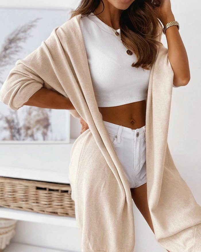 Solid Color Mid-length Cardigan -