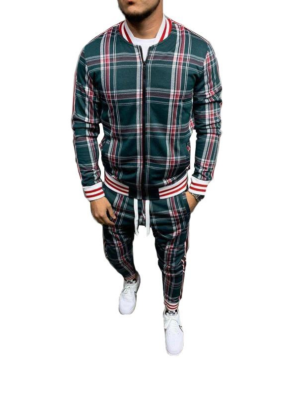Men's Plaid Casual Tracksuit Two-Piece Outfit - Chive S