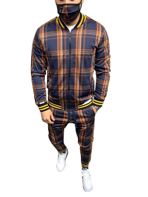 Men's Plaid Casual Tracksuit Two-Piece Outfit - Yellow M