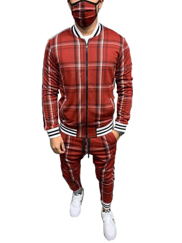 Men's Plaid Casual Tracksuit Two-Piece Outfit - Red L