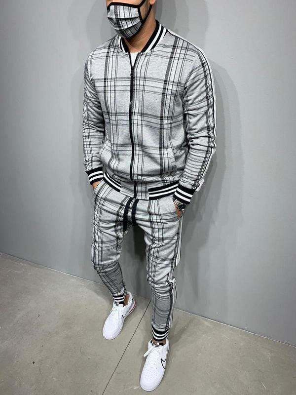 Men's Plaid Casual Tracksuit Two-Piece Outfit - Gray M