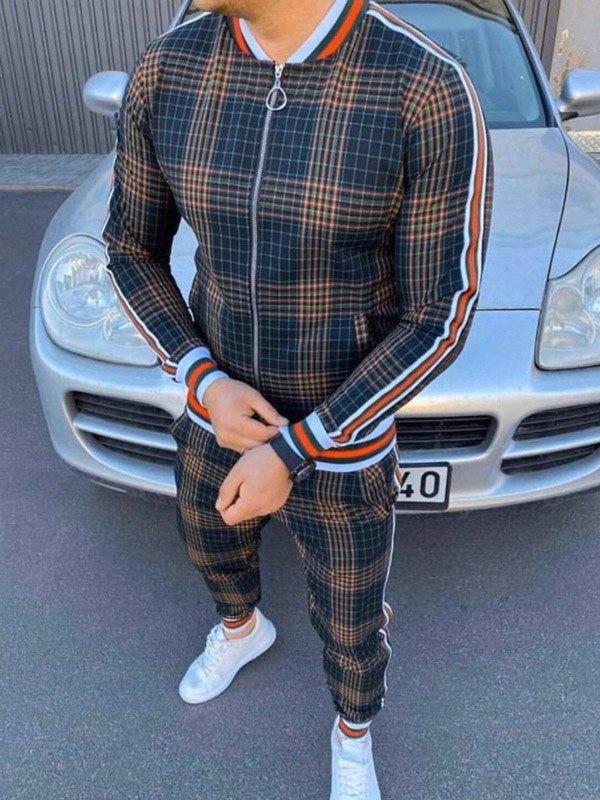 Men's Plaid Striped Tracksuit Two-Piece Outfit - Khaki S