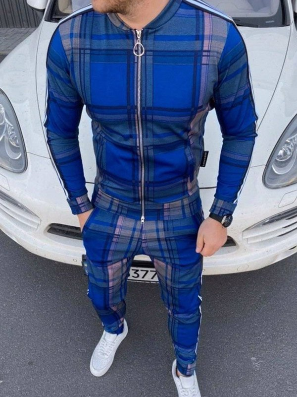Men's Plaid Striped Tracksuit Two-Piece Outfit - Blue M