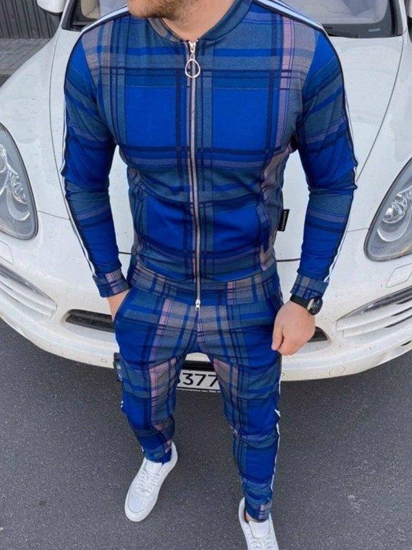 Men's Plaid Striped Tracksuit Two-Piece Outfit - Blue L