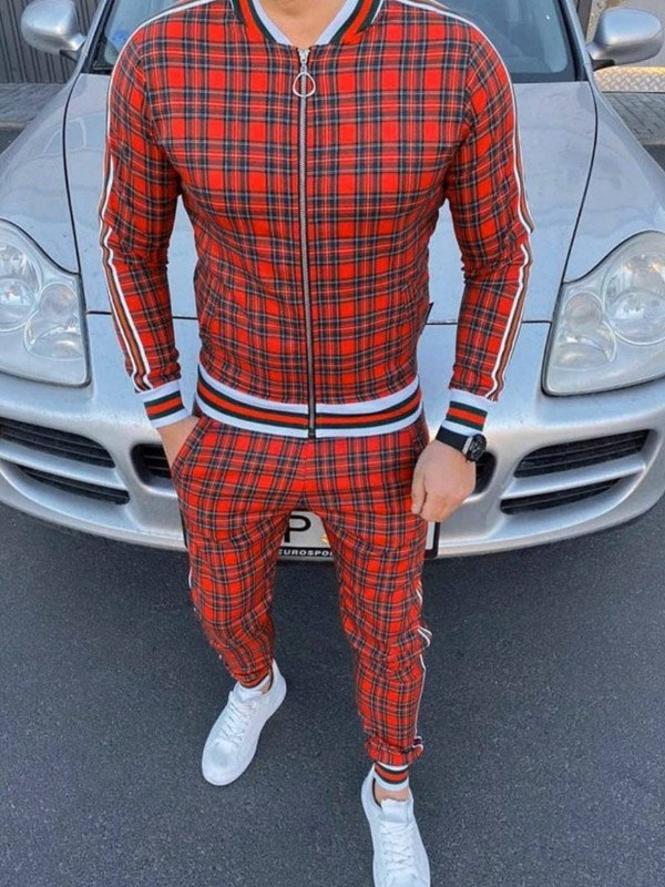 Men's Plaid Striped Tracksuit Two-Piece Outfit - Red L
