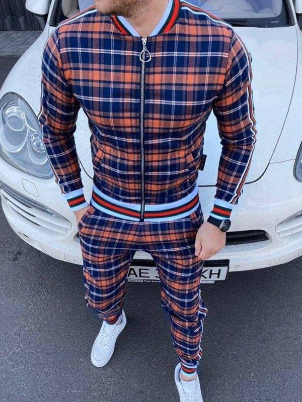 Men's Plaid Striped Tracksuit Two-Piece Outfit - Orange L