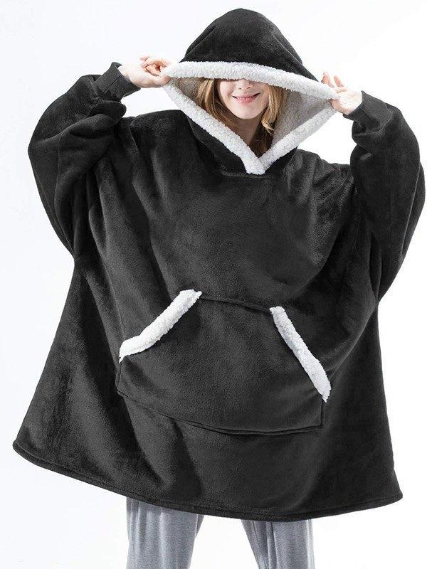Sherpa Lined Lounge Blanket Hoodie - Black ONE SIZE