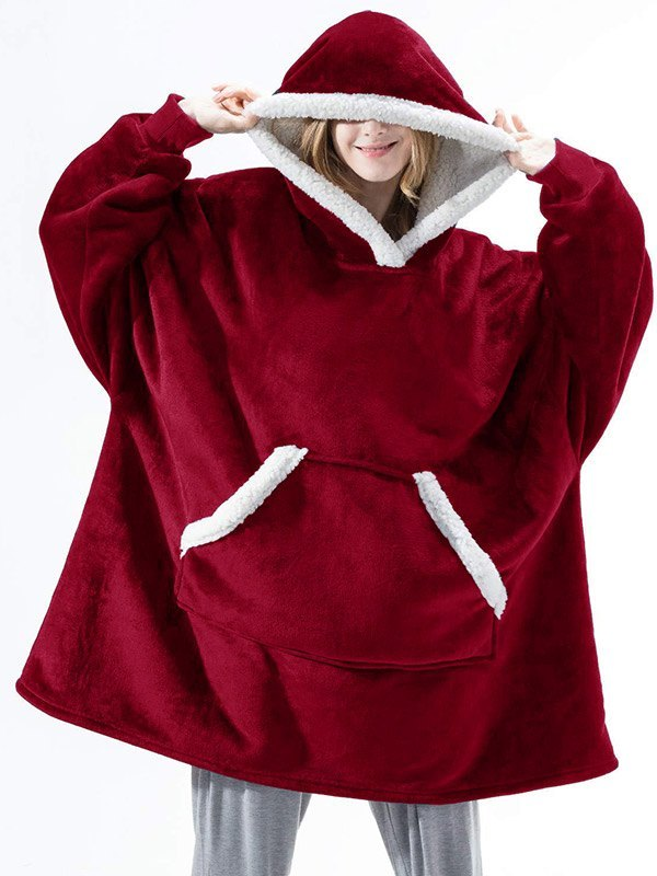 Sherpa Lined Lounge Blanket Hoodie - Red ONE SIZE