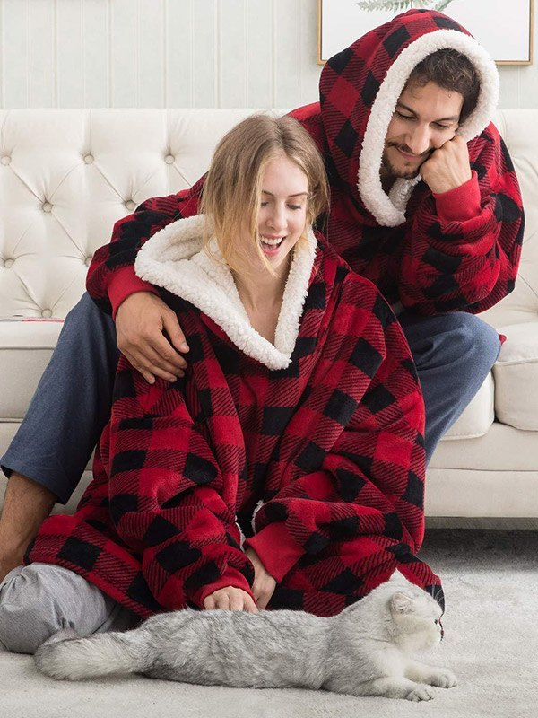Sherpa Lined Lounge Blanket Hoodie - multicolorple Colors ONE SIZE