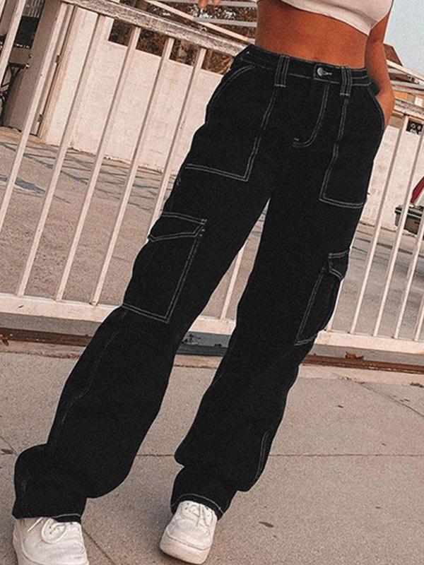 High Waist Straight Cargo Jeans -