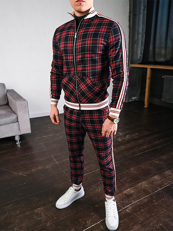 Men's Stripe Paneled Plaid Tracksuit Set - Red XL