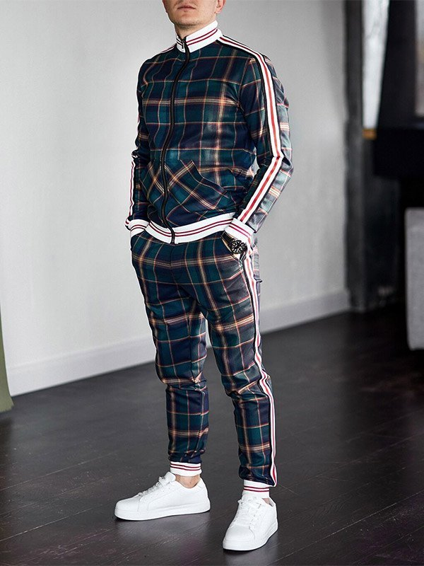Men's Stripe Paneled Plaid Tracksuit Set - Green S