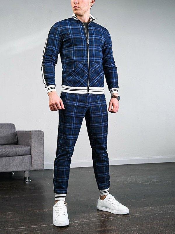 Men's Stripe Paneled Plaid Tracksuit Set - Blue L