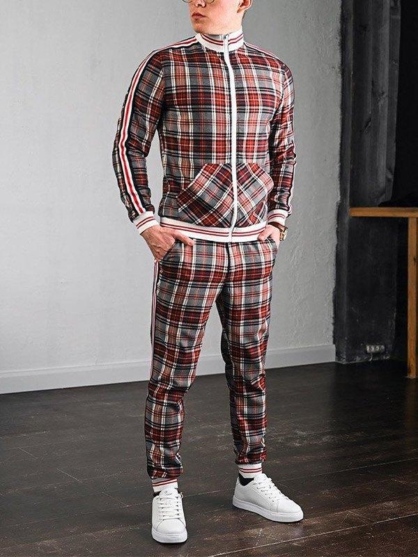 Men's Stripe Paneled Plaid Tracksuit Set - Orange L