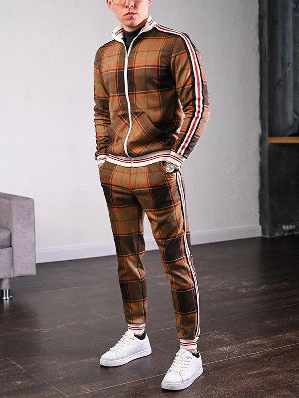 Men's Stripe Paneled Plaid Tracksuit Set - Coffee S