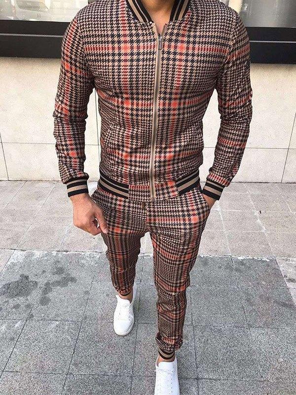 Men's Contrast Trim Plaid Tracksuit Set - Khaki L