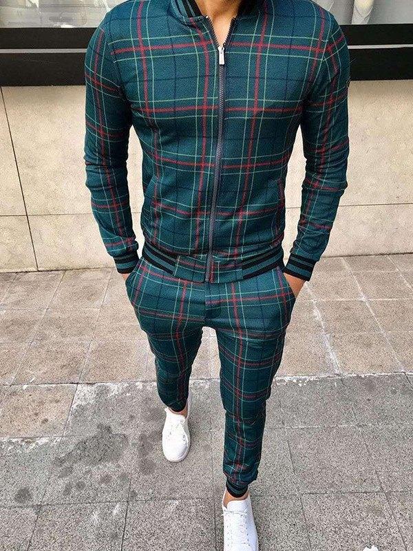 Men's Contrast Trim Plaid Tracksuit Set - Green M