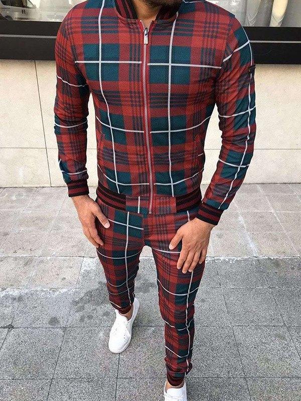 Men's Contrast Trim Plaid Tracksuit Set - Burgundy XL