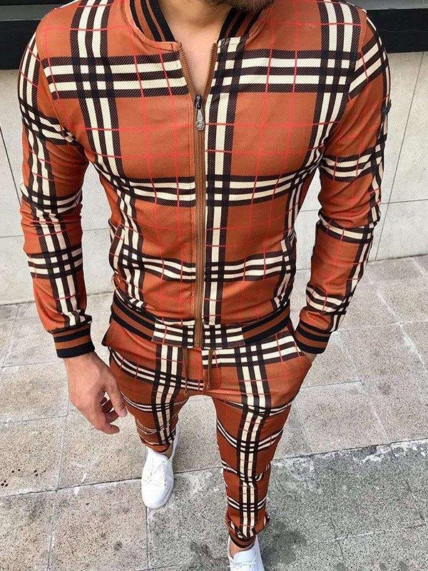 Men's Contrast Trim Plaid Tracksuit Set - Orange L
