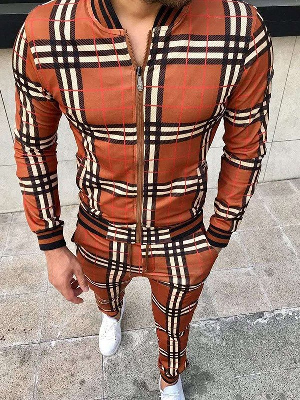 Men's Contrast Trim Plaid Tracksuit Set - Orange S