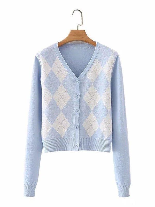 Single-breasted Argyle Knit Cardigan - Blue ONE SIZE