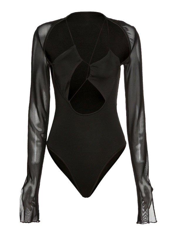 Long Sleeve Splice Cut Out Bodysuit - Black M