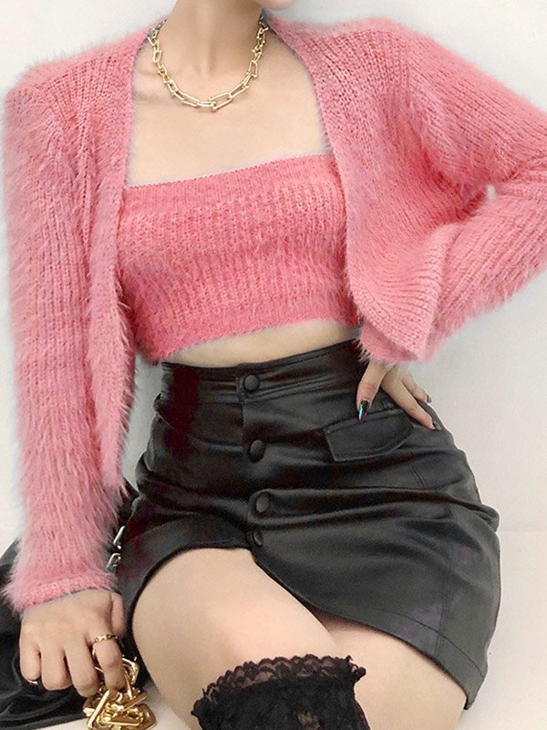 Fuzzy Solid Cardigan Set - Pink ONE SIZE