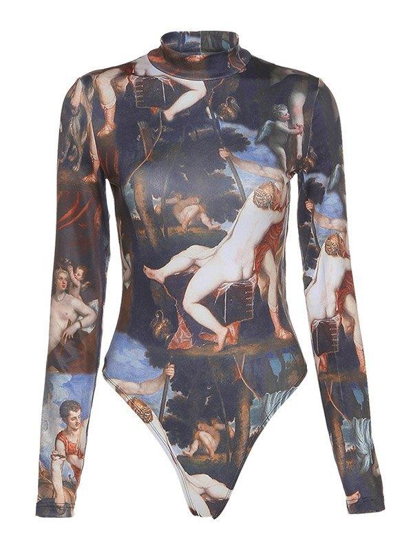 Printed Long Sleeve Bodysuit - Black L