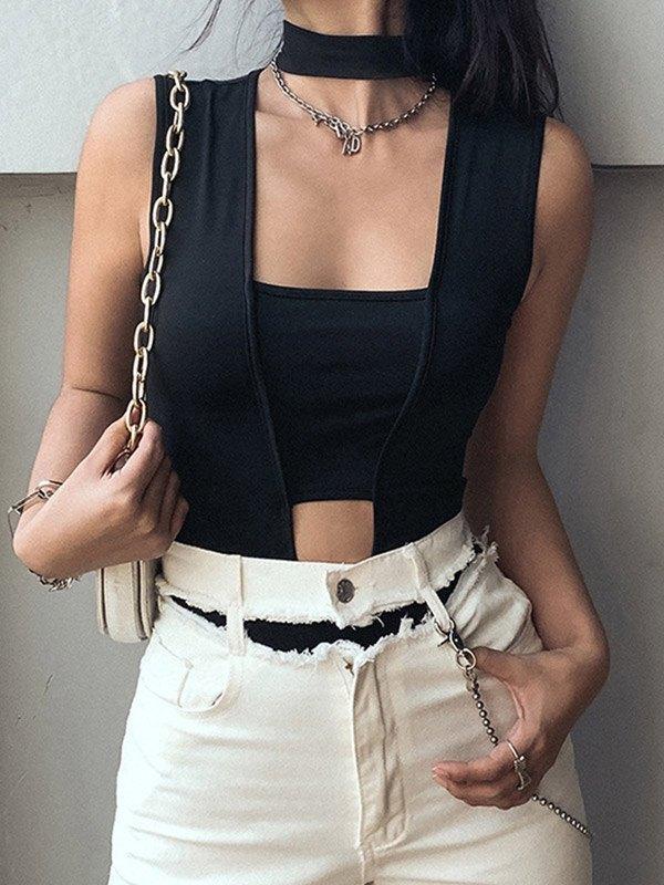 Cutout Irregular Splice Bodysuit - Black M