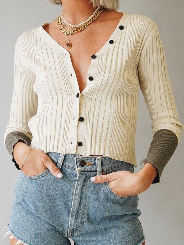 Splice Long Sleeve Knit Cardigan - Beige ONE SIZE