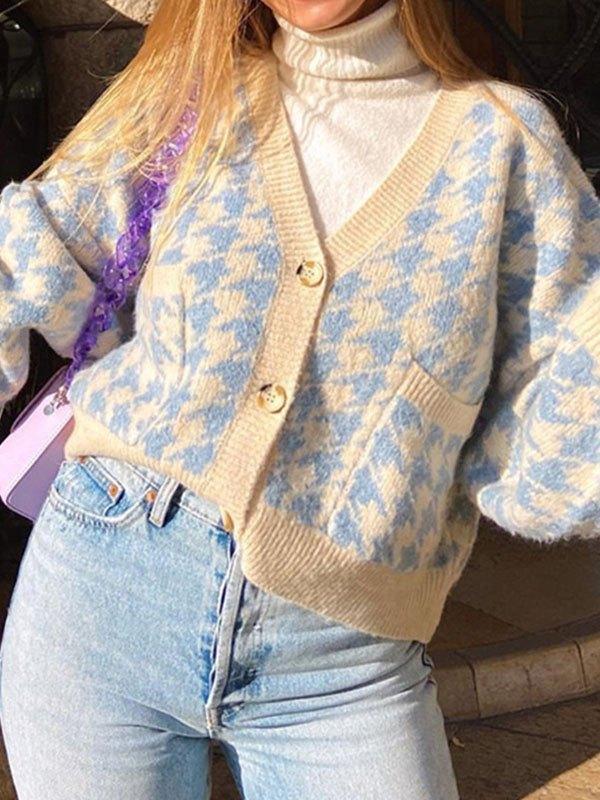 V-Neck Houndstooth Knit Cardigan - Blue S