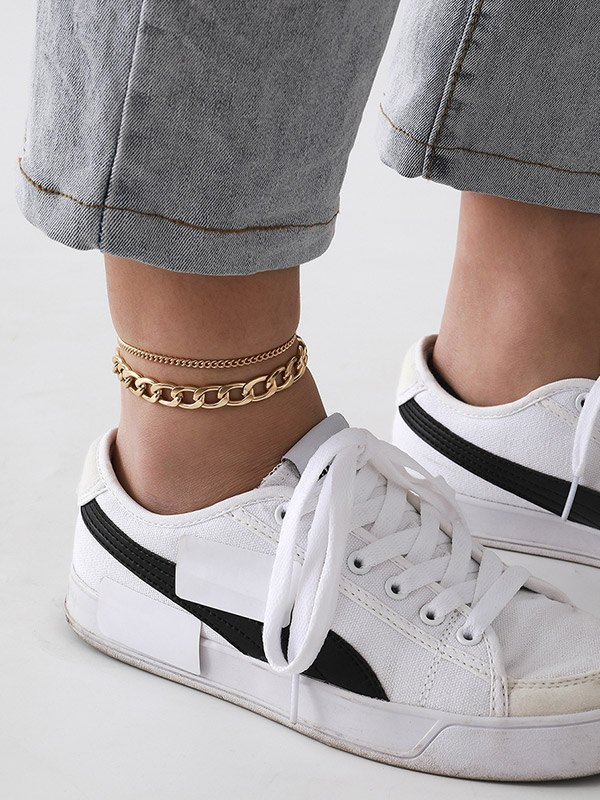 Minimalist Double Layer Anklet - Golden ONE SIZE