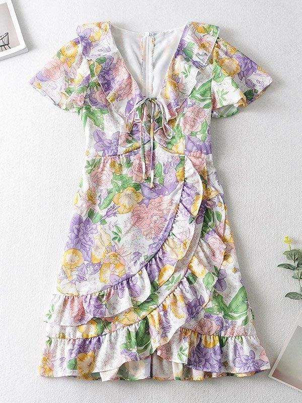 Floral Print Ruffle Tiered Midi Dress - multicolorple Colors L