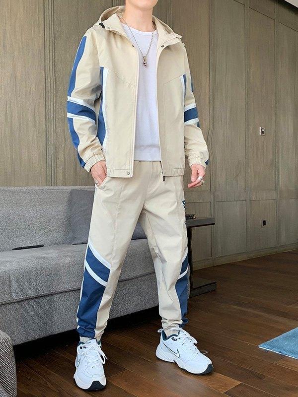 Men's Color Block Hooded Tracksuit Set - White L