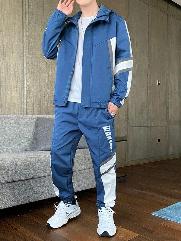 Men's Color Block Hooded Tracksuit Set - Blue 3XL