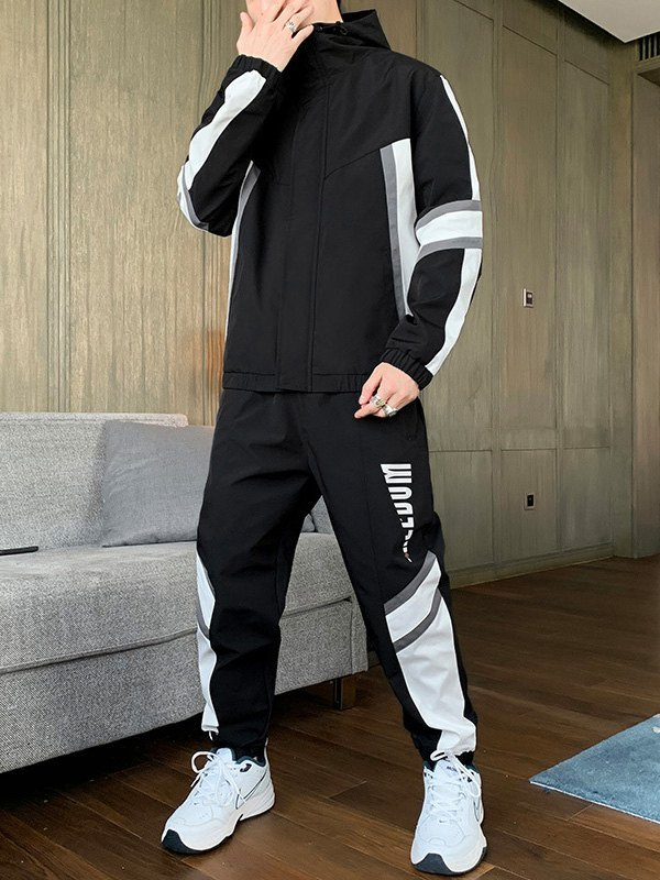 Men's Color Block Hooded Tracksuit Set - Black 2XL
