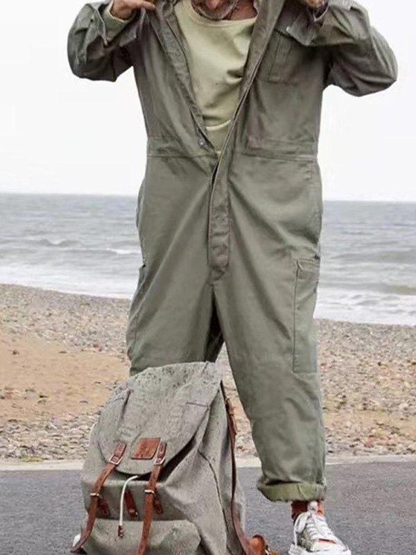 Men's Workwear Jumpsuit - Green L