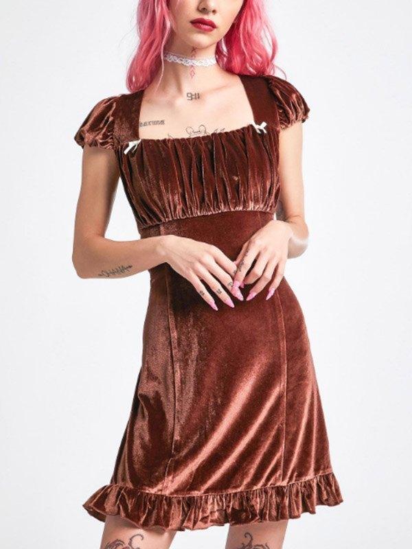 Velvet Short Sleeve Midi Dress - Brown L